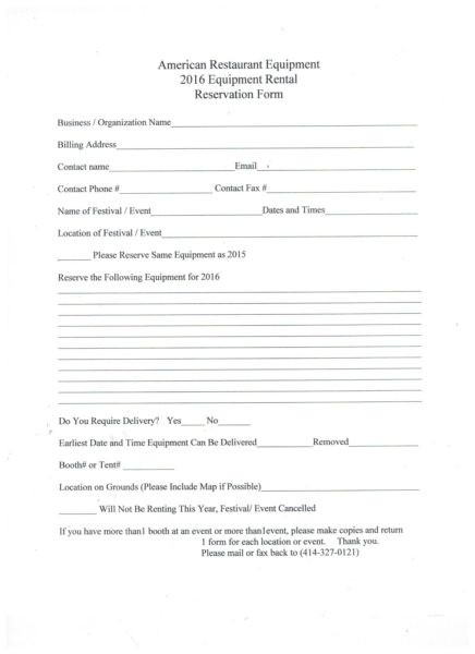 American Restaurant Equipment 2016 Equipment Rental Reservation Form