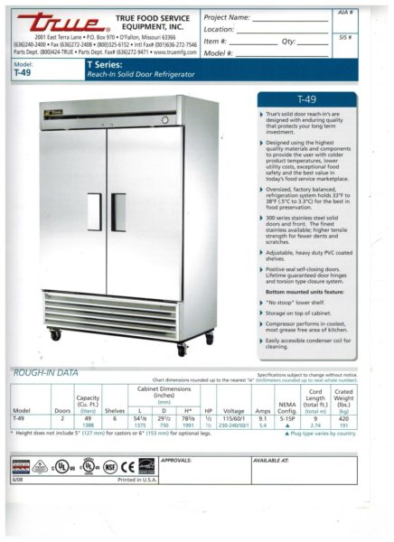 Wondrous True T 49 Two Door Reach In Refrigerator Home Interior And Landscaping Ologienasavecom